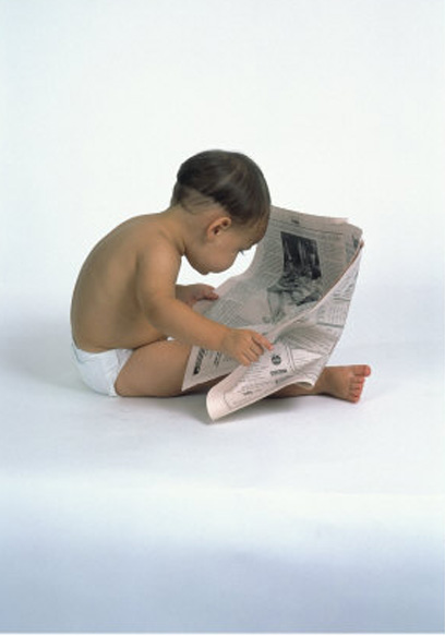 David Davis. Baby Reading Newspaper. Right-clicked from www.allposters.com, used here for  educational, non- commercial  purposes, free service by blog-use of image provided by and from said site.