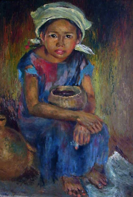 """(Anita Magsaysay Ho. """"Beggar Girl"""" . oil on canvas,14x19 inches.1946. Right-clicked from www.kulay-diwa.com for non-commercial purposes with express permission from the on-line gallery site administrator.)"""