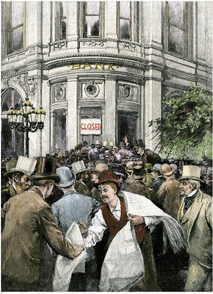 """Artist not indicated. """"Depositors Making a Run on a Bank during a Financial Panic in the 1800. Right-clicked from www.allposters.com, used here for non- commercial  purposes, under the terms of , free service by blog-use of image provided by said site."""