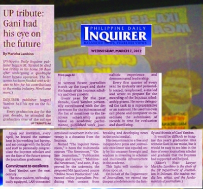 U.P. journ dept paid tribute to Inquirer publisher Gani Yambot